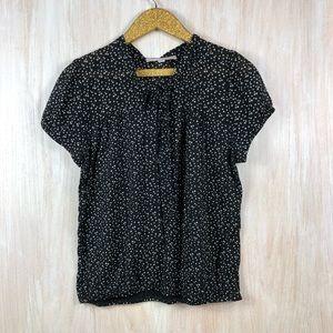 LOFT Black Polkadot Tie Neck Short Sleeve Shirt -
